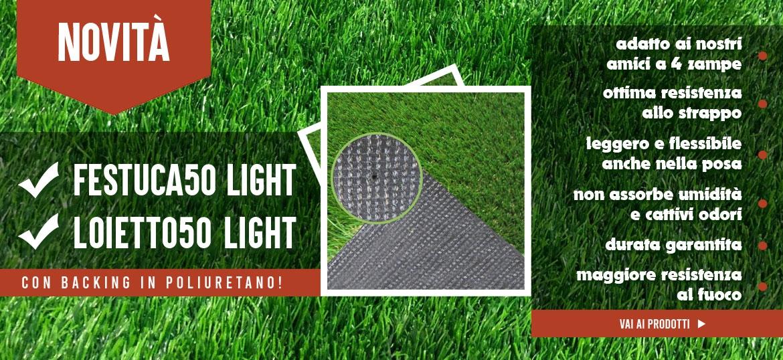 Loietto50 Light e Festuca50 Light con backing in poliuretano